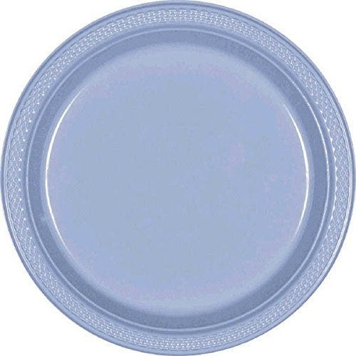 Amscan Round Pastel Blue Dessert Plates For Party | Plastic | 20 Ct.