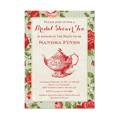 (Bridal Shower Tea Party Invitations with Red Roses, Base price is for a set of 10 5x7