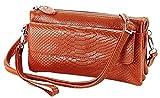 Black Friday Deals Cyber Monday Deals Week-Valentoria Soft Leather Crocodile Clutch Organizer Purse Shoulder Crossbody Wrislet Bag Satchel Purse Handbag for Women with Shoulder Strap (Brown)