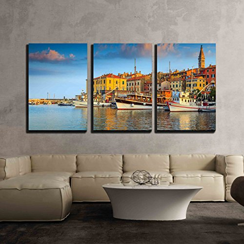 wall26 - 3 Piece Canvas Wall Art - Beautiful Romantic Old Town of Rovinj and Famous Fishing Harbor with Magical Sunset - Modern Home Decor Stretched and Framed Ready to Hang - 24