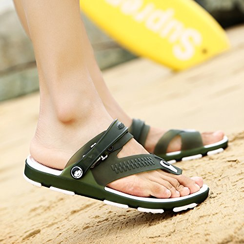 Xing Lin Flip Flop De La Playa Tendencia De Verano Zapatos De Hombre Calzado De Playa El Agujero Zapatillas Para Hombres Flip-Flops Sandalias De Hombres Marea Antideslizante 1703 army green