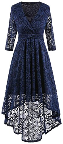 Cromoncent Lace Womens 4 Swing Sleeve Hollow Low Dress V Navy Neck 3 Pleated High 1xHFqrBw1