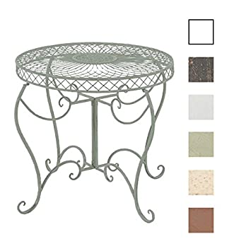CLP Table Ronde de Jardin Sheela - Table de Jardin Design en Fer Forgé -  Table de Terrasse Style Antique - Meuble de Jardin en Fer - Couleur : Vert  ...