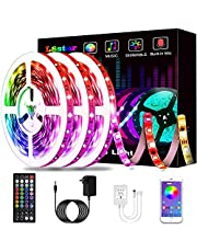 LED Lights, KIKO Smart Led Lights Strips 50ft/15m RGB Strip Lights 5050 with Remote Controller Sync to Music Apply for Bedroom, Party and Home Decoration (50FT)