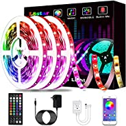 LED Lights, KIKO Smart Led Lights Strips RGB Strip Lights 5050 with Remote Controller Sync to Music Apply for