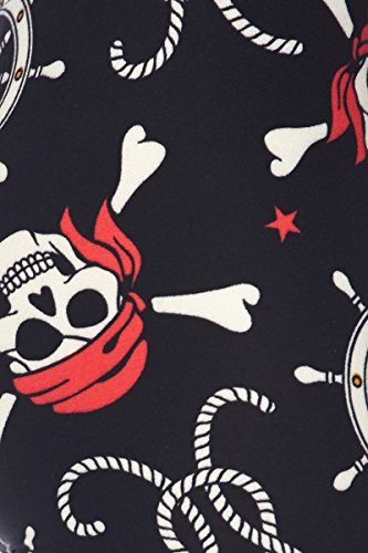PALI USA New Printed Brushed Buttery Soft Leggings Regular and Plus (Pirates Scull, Small/Medium (0-12)) by PALI USA (Image #1)
