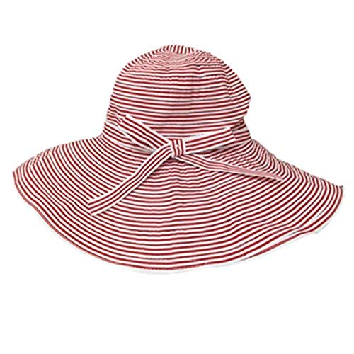 (Tickled Pink Womens Sun Hat Woven Grosgrain Floppy Straw Sunhat Foldable Summer Beach Garden Travel Hiking Ladies Protection Packable Wide Brim Caps One Size Red)