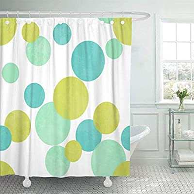 Seiobax Shower Curtain Abstract Polka Dots Pattern In Lime Green Blue Color Waterproof Polyester Fabric