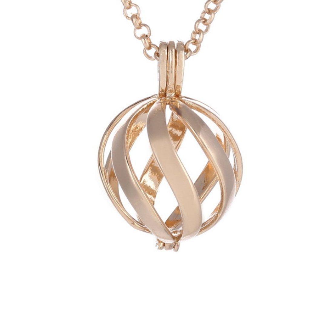 0bb144e8bc85 Amazon.com: Swirl hollow Pendant, Spiral Pendant Necklace, Diffuser  Necklace, Antique Silver, Bright silver, Gold (Gold): Jewelry