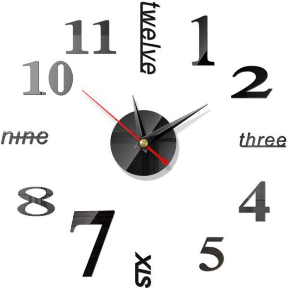 BESTZY 2 Piezas DIY Reloj de Pared, 3D Relojes de Pared Espejo Pegatina DIY Frameless Gran Reloj de Pared Números Romanos para Decorar la Oficina Casa