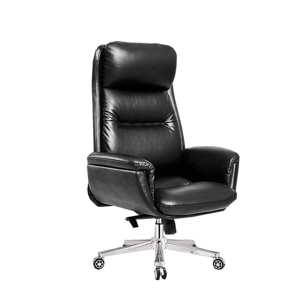 高品質レザーコンピュータチェア、ホームオフィスチェア/リクライニング/エグゼクティブチェアシート/リフティング回転チェア、スタジオ、寝室、ゲームルームに適して (Color : Black) B07SSB62K1 Black