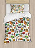 Ambesonne Doodle Duvet Cover Set Twin Size, Various Home Interior Elements Armchair Table Mirror Design Elements Doodle Style, Decorative 2 Piece Bedding Set with 1 Pillow Sham, Multicolor