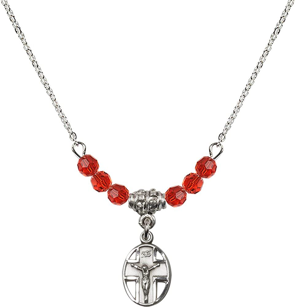 18-Inch Rhodium Plated Necklace with 4mm Ruby Birthstone Beads and Sterling Silver Crucifix Charm.