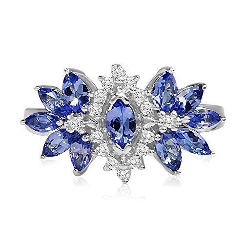 NATALIA DRAKE Sterling Silver Marquise Tanzanite and White Topaz Cluster Ring - 1 1/2 cttw (9) ()