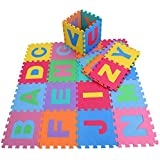"""High Quality Educational Alphabet Foam Puzzle Floor Mat for Kids - Covers 26 sq ft (12"""" x 12"""" square blocks)"""