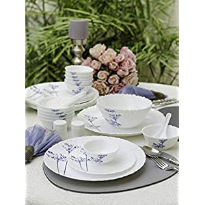 LaOpala Aqua Spray Novo Collection Opalware Dinner Set, 35 Pieces, White, 35 Cup (LOPASDS29P-6)