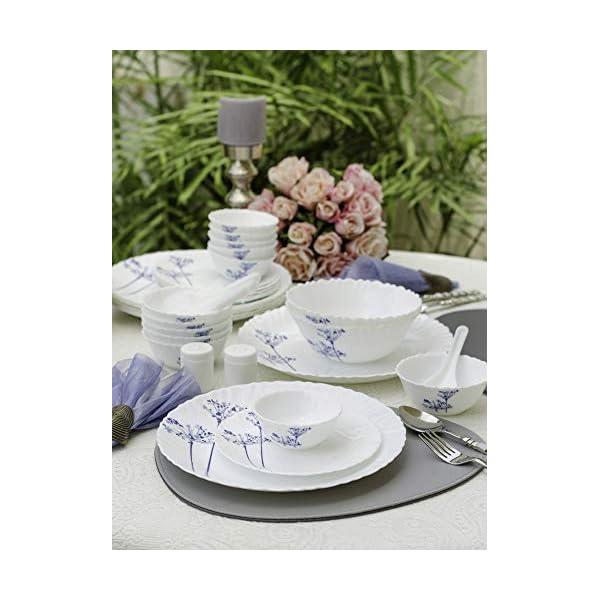 La Opala Aqua Spray Novo Collection Opalware Dinner Set, 35 Pieces, White, 35 Cup (LOPASDS29P-6)