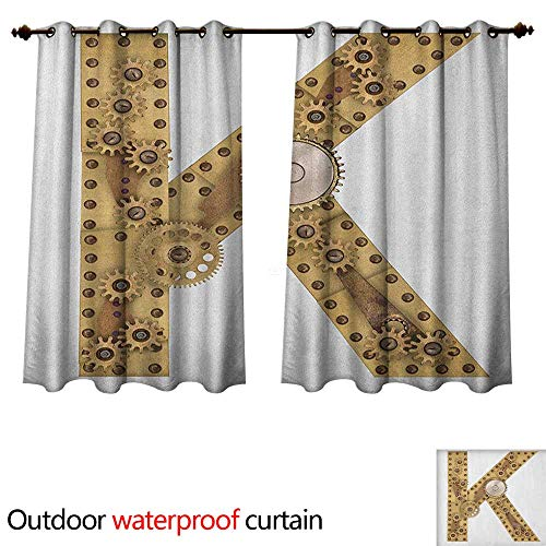 Anshesix Letter K Home Patio Outdoor Curtain Letter with Cyberpunk Industry Theme Design Cogwheels Brass in Vintage Style Image W108 x L72(274cm x 183cm)