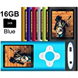 G.G.Martinsen MP3/MP4 Player with a 16GB Micro SD card, Mini USB Port 1.8 LCD, Digital Music Player, Video/Media Player, MP3 Player, MP4 Player, Support Photo Viewer, Recorder & FM Radio - Blue