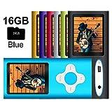 G.G.Martinsen MP3/MP4 Player with a 16GB Micro SD card, Mini USB Port 1.8 LCD, Digital Music Player, Video/Media Player, MP3 Player, MP4 Player, Support Photo Viewer, Recorder & FM Radio - Blue