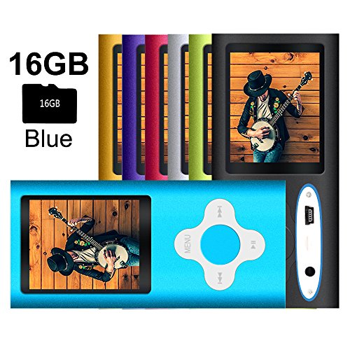 G.G.Martinsen MP3/MP4 Player with a 16GB Micro SD Card, Mini USB Port 1.8 LCD, Digital Music Player, Media Player, MP3 Player, MP4 Player, Support Photo Viewer- Blue