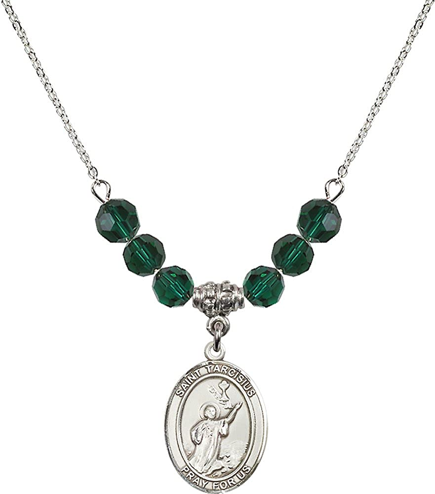 18-Inch Rhodium Plated Necklace with 6mm Emerald Birthstone Beads and Sterling Silver Saint Tarcisius Charm.