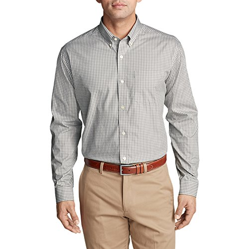 Eddie Bauer Men's Wrinkle-Free Pinpoint Oxford Classic Fit Long-Sleeve Shirt,M Regular,Chrome (Grey) (Fit Pinpoint Dress Shirt)