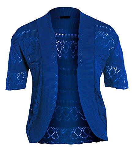 Nuevo para mujer medias de Cardigans de punto ganchillo Bolero Tops azul real