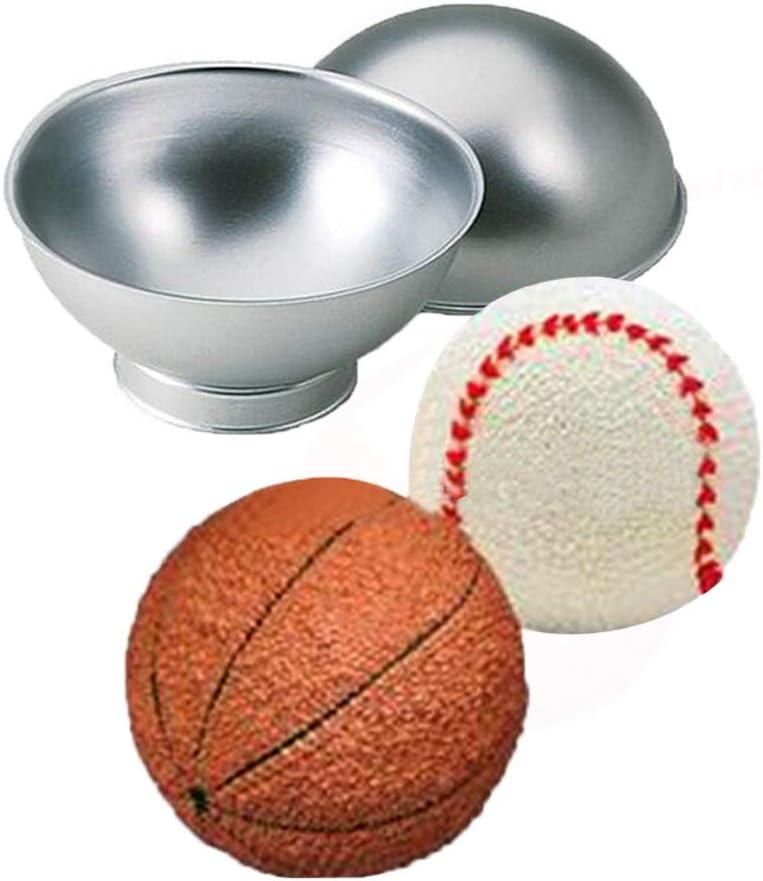 Astra Gourmet 6-inch Large 3D Novelty Sports Soccer Ball Metal Pastry Baking Pan Mold Football Shape Cake Pan Bath Bomb Mold