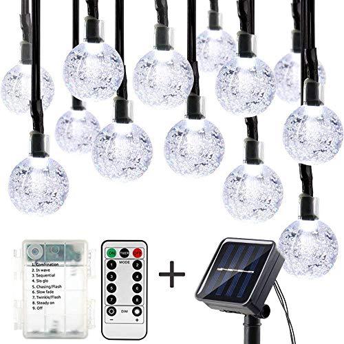 Hepoo 16 Ft 20Led Solar String Lights Globe Crystal Balls Waterproof LED Fairy Lights for Garden Yard Home Party Wedding Decoration (Cool White) (Umbrella Lights String)