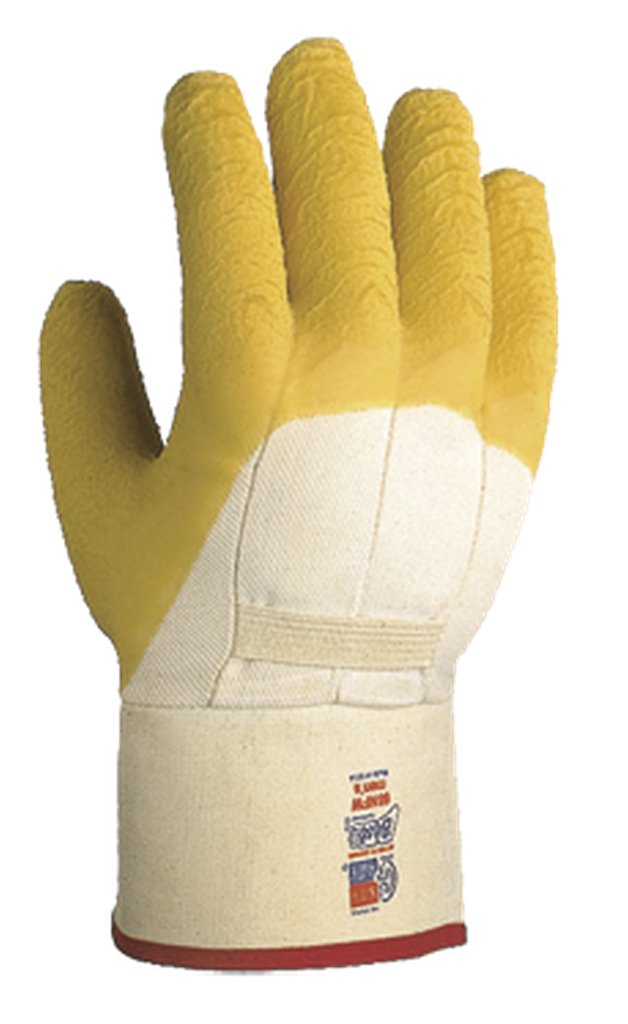 SHOWA 66NFW Palm Coated Natural Rubber Glove, Cotton Poly Flannel Liner, Sanitized Reinforced Safety Cuff, General Purpose Work, Large (Pack of 12 Pairs) by Showa Best Glove B007VR82BY
