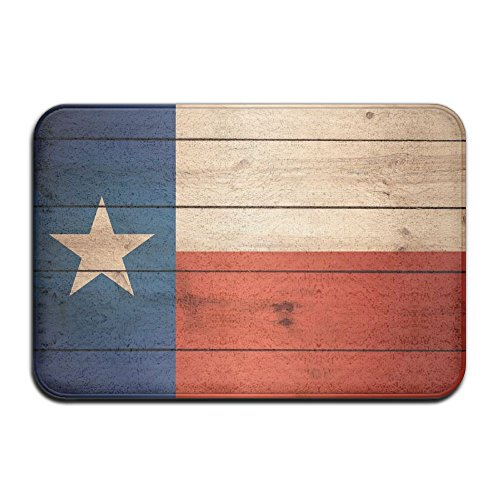 YangPa Wood Texas Flag Outdoor Rubber Mat Front Door Mats Porch Garage Large Flow Slip Entry Carpet Standard Rug Home 23.62