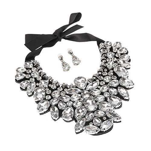 Holylove White Costume Statement Necklace with Earrings for Women Jewelry Fashion Necklace 1 Set with Gift Box-HLN8455E-White