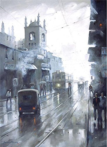 Oil Painting 'Landscape Painting: The Street In The Rainy Day' 24 x 33 inch / 61 x 83 cm , on High Definition HD canvas prints is for Gifts And Bed Room, Home Office And Nursery Decoration