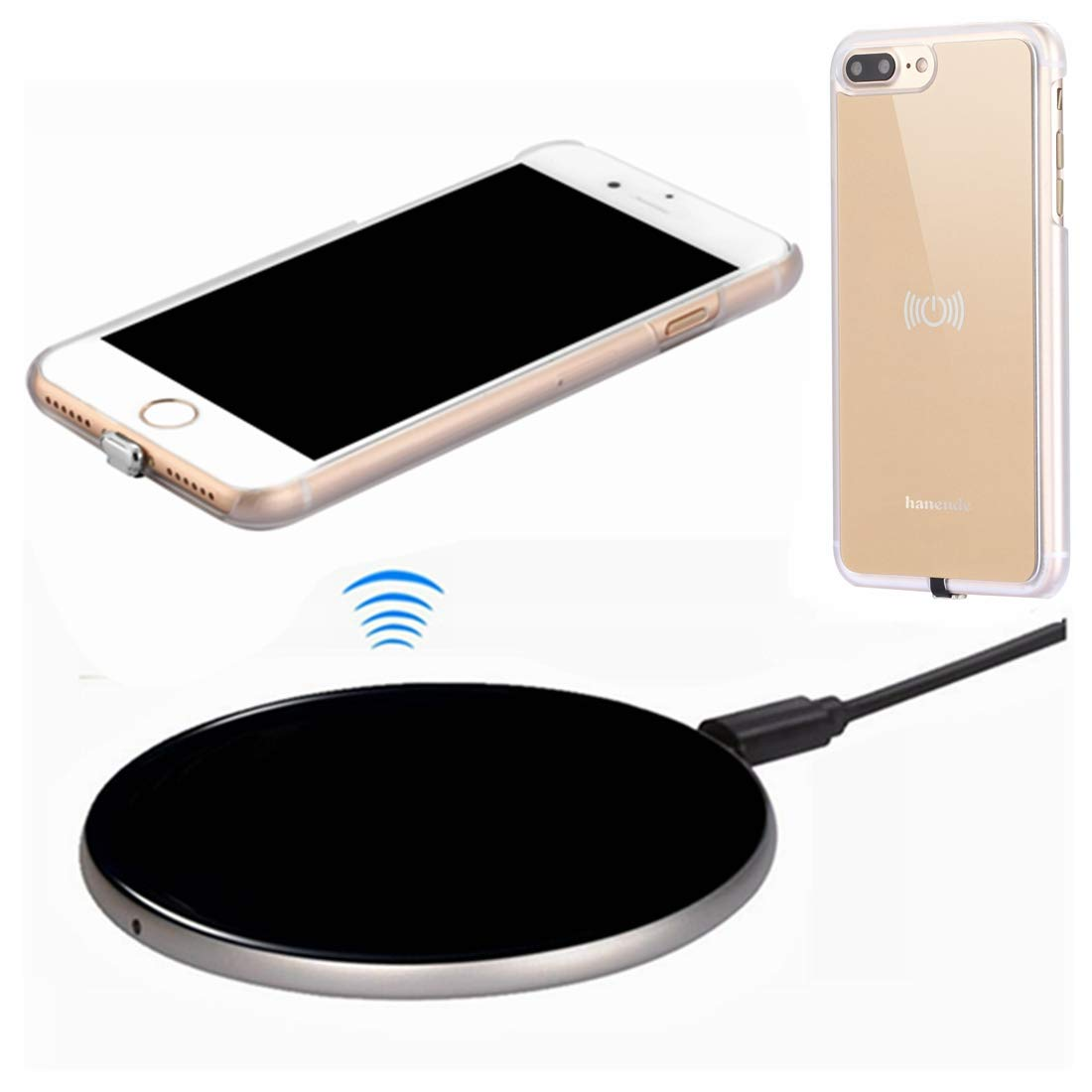 the best attitude ba911 055c5 Wireless Charger Kit for iPhone 7 Plus, hanende [Sleep-Friendly] Qi  Wireless Charging Pad and Wireless Receiver Case for iPhone 7 Plus (Gold)