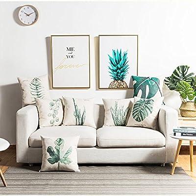 Mugod Decorative Throw Pillow Cover Argyle Watercolor Seafoam Blue Triangle Geometric Contemporary Diamond Cushion Cover for Home Couch Decor