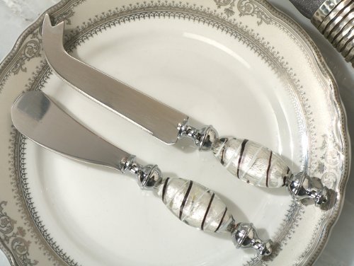 Murano art deco Cheese knife and spreader -