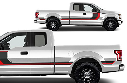 Factory Crafts Ford F-150 2015-2017 SuperCab 6.5 Bed Rally Stripe 2 Graphics Kit 3M Vinyl Decal Wrap - Gloss Black & Dark Red