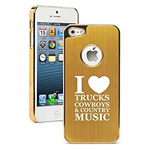 Apple iPhone 5 5s Aluminum Plated Chrome Hard Back Case Cover Love Trucks Cowboys Country Music (Gold)