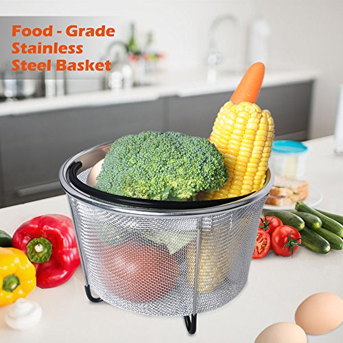 LATTCURE Insant Pot Accessories Steamer Basket 6 qt, Food Grade Stainless Steel Pressure Cooker Steam Basket for Vegetable with Silicone Handle/Non-slip Legs Fits IP InstaPot by LATTCURE (Image #3)