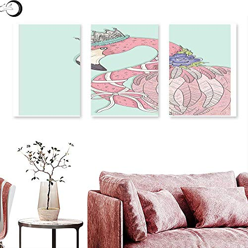 J Chief Sky Flamingo Wall hangings Cute Flamingo Flower Crown Ribbon Fairytale Children Kids Artwork Triptych Wall Art Baby Blue Pale Pink White Triptych Art Canvas W 24