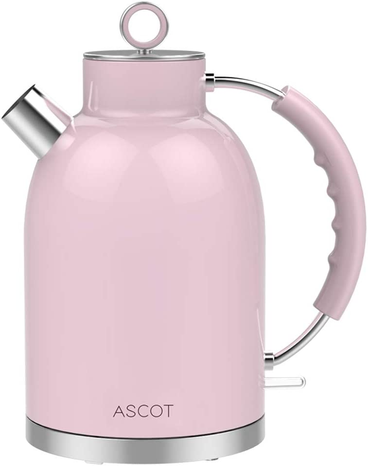 100/% Stainless Steel Hot Water Boiler Boil Dry Protection /& Automatic Shutoff 1.7 QT Silver Food-Grade Material 1500W Cordless Teapot Fast Heating Ascot Electric Kettle
