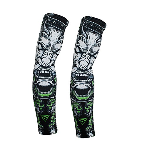 Adult Fashion Skeleton Specialized Motorcycle Basketball Workout Street Bike Rock Climbing Cycling Hunting Fishing Adventure Tennis Golf Arm Protection Compression Sleeve Tattoo Ghost (Black -