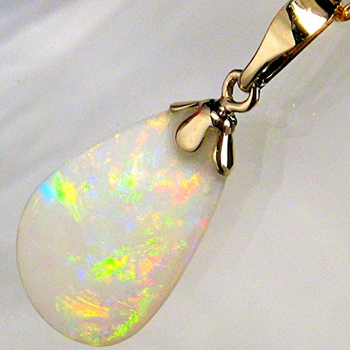 Solid Australian Opal Crystal - 3.9ct 14k Gold Rare Light Crystal Australian Solid Opal Pendant Jewel Gift #630
