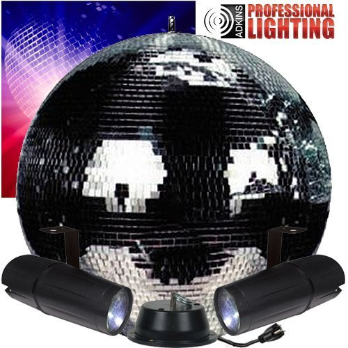 20'' Mirror Ball Complete Party Kit with 2 LED Pinspots and Motor - Adkins Professional Lighting by Adkins Professional lighting (Image #1)