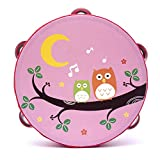 Yingealy Educational Toy 18cm Baby Hand Drum Wooden Flower Tambourine Percussion Instrument (Pink Owl)