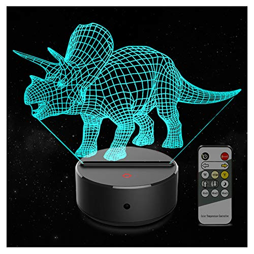 Dinosaur 3D Kids Night Light 7 Colors Changing 3D Lamp Remote Control Table Desk Lamp for Boys Girls Kids Adults Children Toy Birthday (Triceratops)