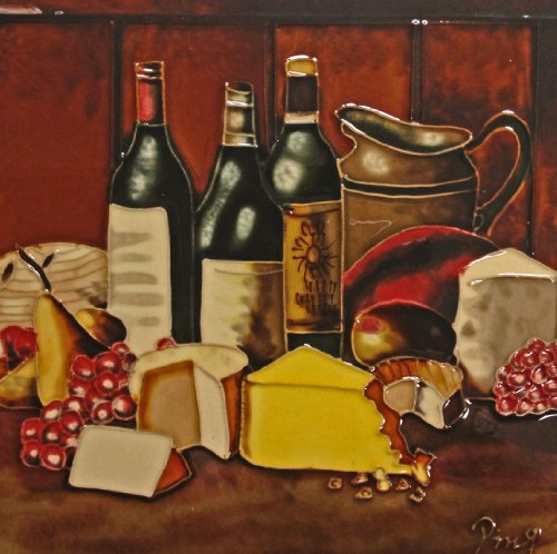 Continental Art Center BD-0751 8 by 8-Inch Wine with a Yellow Cheese Ceramic Art Tile