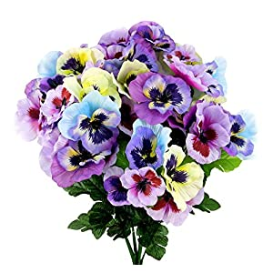 Admired By Nature Artificial Pansy Mixed Flowers Bush, 12 Stems for Home office, Restaurant, Wedding Decoration, 12 Piece 105