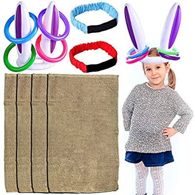 7 Set Outdoor Games for Family Lawn Game Include Potato Sack Race Bags, Egg Spoons Game, Inflatable Bunny Ring Toss, Legged Race Bands Backyard Games Birthday Party Games for Kids Field Day Game: Sports & Outdoors
